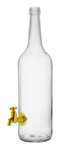 Geradhalsflasche mit Hahn 1000ml - PP28 Schraubmündung